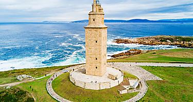 A close up view of the Tower of Hercules in La Coruna, Spain