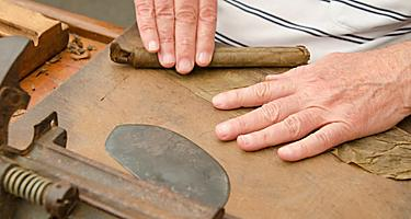 A man rolling cigars