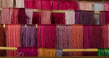 Various colors of raw silk thread
