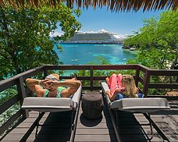Couple Relaxing Nellies Beach Bungalow, Labadee, Haiti