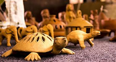 A handcrafted wooden turtle souvenir
