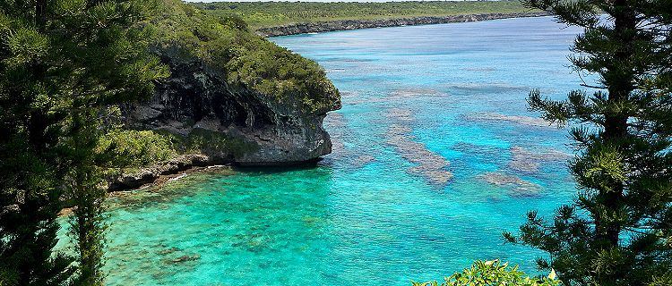 Coral reefs in the water at the Cliffs of Jokin on Lifou, Loyalty Islands