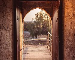 Open gate at medieval Kolossi castle in Limassol, Cyrprus