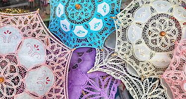 Limassol, Cyprus Traditional Handmade Lace Parasols in local souvenir shop in Limassol, Cyprus