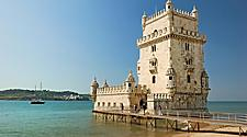 The Belem Tower on the coast of Lisbon, Portugal