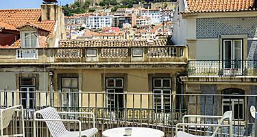 Tables on a terrace in Lisbon, Portugal