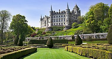 View of Dunrobin Castle from a garden