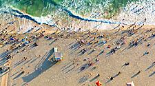 Aerial view of a beach in Santa Monica, California