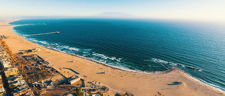 Aerial view of Venice Beach in California