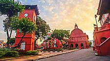 Christ Church Melaka and Dutch Square, with a beautiful colorful park in Malacca, Malaysia