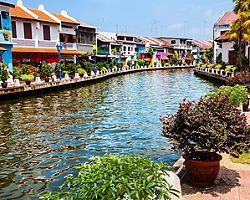 Historical part of the old malaysian town Malacca, Malaysia, with a river and colorful houses
