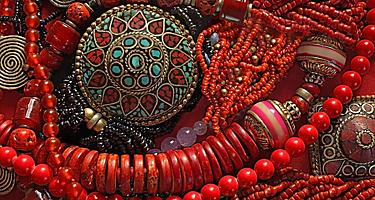 Beaded jewelry and ornaments for sale in Malacca, Malaysia