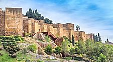 Exterior walls of the Alcazaba fortress in Malaga, Spain