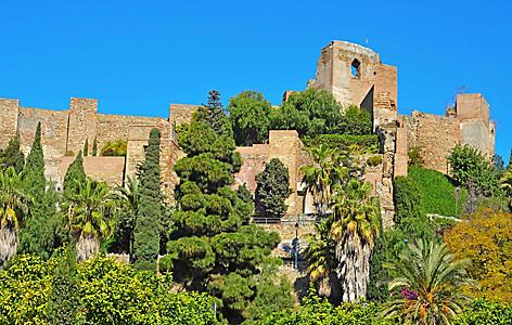View of the Alcazaba fortress in Malaga, Spain