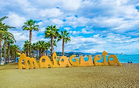 The Malagueta beach sign in Malaga, Spain