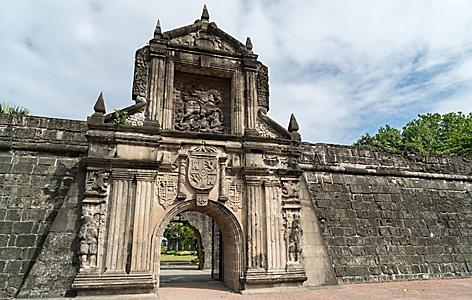A stoned wall entrance to the Intramuros from the Spanish conquest in Manila, Philippines