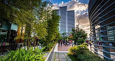Garden and modern skyscraper in the city center of Manila, Philippines