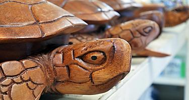 Wooden turtle souvenir sculptures