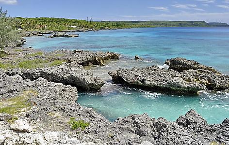 The rocky coast on Mare, New Caledonia