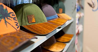 Koa wood brimmed hats in Maui, Hawaii