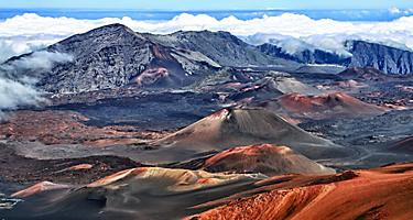 Views of the Haleakala volcano in Lahaina, Maui, Hawaii