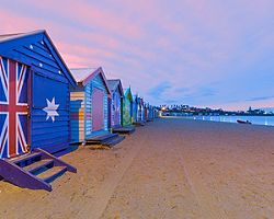 Colorful painted bathing houses along Brighton beach in Melbourne, Australia