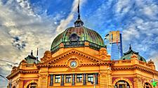 The iconic railway station on Flinders street in Melbourne, Australia