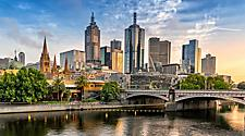 View of the skyline and a bridge crossing over the river in Melbourne, Australia