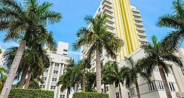 Art Deco architecture of Collins Avenue in Miami, Florida