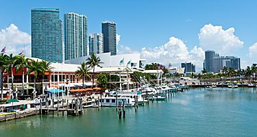 Waterfront view of Bayside Mall in Miami, Florida
