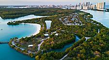 Aerial shot of Oleta River state park in Miami, Florida