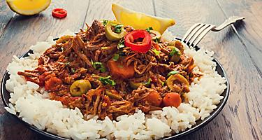Plate of Ropa Vieja, traditional Cuban food in Miami