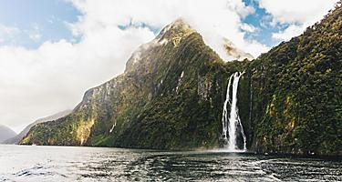 A waterfall in Fiordland, New Zealand