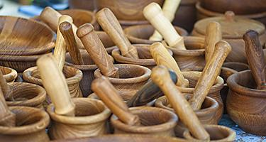 Wooden bowls with spoons found shopping in Japan