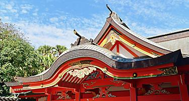 Red Building of Aoshima Shrine on Aoshima Island in Miyazaki, Japan