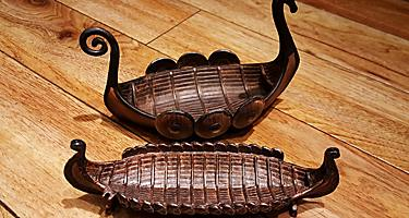 A pair of souvenir Viking boats