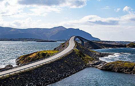 A close up view of the Atlantic Road in Norway