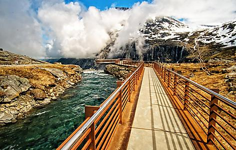 The Stigfossen waterfall catwalk in Norway