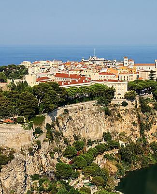 Aerial view of the Rock  of Monaco, in Monte Carlo, Monaco