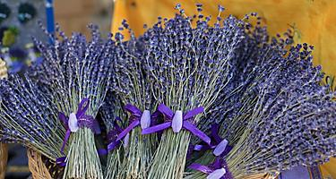 Decorated bouquets of lavender on a market in Monte Carlo, Monaco