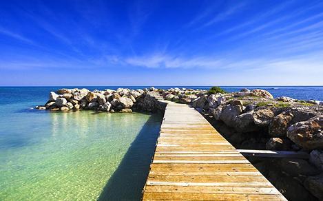 Platform walkway on a beach in Montego Bay, Jamaica