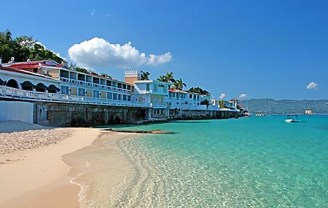 Waterfront houses on Doctor's Cave Beach, in Montego Bay, Jamaica