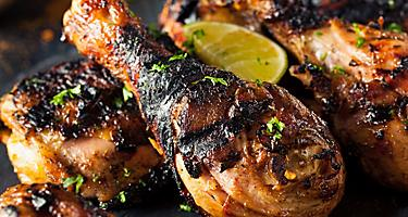 Gourmet Jamaican Jerk Chicken marinated with hot spices