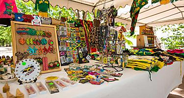 Souvenir stand with Jamaican merchandise in Montego Bay