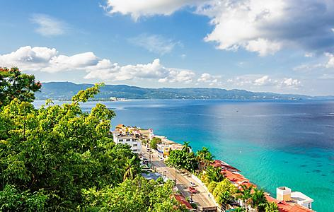 Vantage point for a waterside street view of Montego Bay, Jamaica