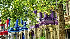 Canada Quebec Montreal Cityscape Colorful Homes