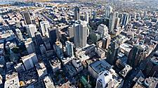 Aerial view from above Montreal's city center and its landmark buildings, Montreal, Quebec