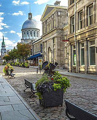 Early Summer morning on the old cobbled streets of Montreal, Quebec