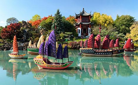 The Montreal Botanical Garden, with Asian boats on a pond, in Montreal Quebec