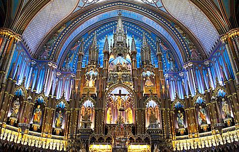 The church interior of Notre-Dame Basilica in Montreal, Quebec